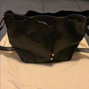 Tory Burch black leather medium bucket bag